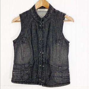 Tribal Jeans | Black Washed Stud Jean Jacket Vest
